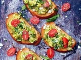 Green Chile Pesto Breakfast Bruschetta
