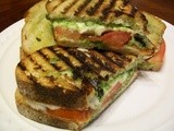 Grilled Pesto, Mozzarella, and Tomato Sammies
