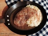 Maple Bourbon Pork Chops and Whipped Potatoes with Apples and Onions
