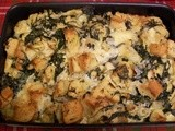 Savory Bread Pudding with Spinach, Artichoke, and Brie
