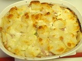 Potato, Zucchini, Goat and Cheddar Cheese Gratin