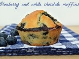 Blueberry and white chocolate muffins.....and Happy birthday to my blog