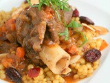 Braised Lamb Shanks and Saffron Pearl Couscous with Cranberries and Almonds recipe