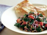 Lentil & tomato salad with garlic lebanese bread recipe