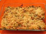 Oven Pasta with Peas, Bacon and Cheese