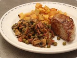 Pork Tenderloin with Peas, Mushrooms and Bacon