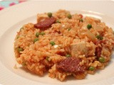 Risotto with Chicken, Chorizo and Peas