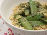 Vega: Macaroni with Zucchini, Snow Peas and Pesto