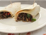Wraps with Minced Beef, Mushrooms and Red Pepper