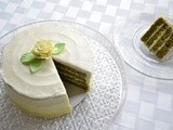 Green Tea Layer Cake with Lemon Honey Ombre Buttercream