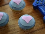 Vanilla  Companion Cube  Cupcakes with Raspberry Buttercream