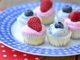 White Chocolate Cheesecake Mini Cupcakes with Raspberry & Blueberry Whipped Cream