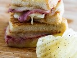 Pastrami,White Cheddar and Apple Grilled Cheese on French Bread