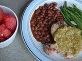 Pork Chops with Tomatillo Salsa and a side of Robert Irvine