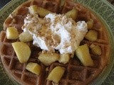 Apple Pie Waffles with Cinnamon Whipped Cream and Pie Crust Crumb