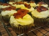 Chocolate Cupcakes with Bourbon Cream Cheese Frosting and Candied Bacon
