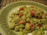 Creamy Pesto Shells with Peas and Cherry Tomatoes