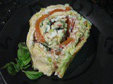 Leek Roulade with Ricotta, Red Pepper and Walnut Filling