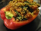 Red Peppers Stuffed with Curried Quinoa