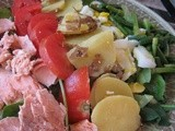 Salad Nicoise with Salmon and Garlic Scapes