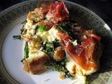 Savory Bread Pudding with Rapini and Prosciutto