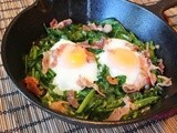 Wilted Greens with Runny Eggs