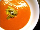 Cold Gingered Carrot Soup with Avocado