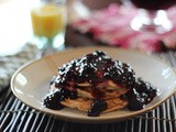 Banana Oat Pancakes with Blackberry Sauce