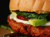 Vegetarian Chorizo Burger with Grilled Poblano & Cilantro Pesto