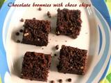 Chocolate brownies with choco chips – eggless cocoa brownie recipe