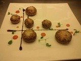 Leeks & mascarpone stuffed mushrooms with spicy guava sauce