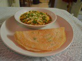 Tomato paneer bhurji with rice pan cake (rotla)