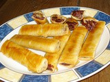 Chocolate – chestnut flogeres (sweet filo rolls)