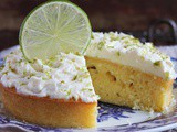 Lemon cake with whipped cream and syrup