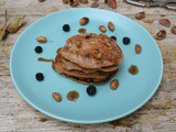 Blackberry & Apple Spelt Pancakes with Brown Buttered Cobnuts
