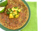 Courgette and Chickpea Pancakes with Mango and Cucumber Chutney