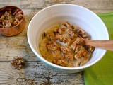 Prune Porridge Topped with Toasted Walnuts and Cinnamon