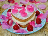 Raspberry Cream Sponge Cake with Lemon Verbena