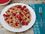 Spelt Waffles with Rose Raspberry Sauce & Volcano Waffle Maker Giveaway