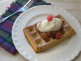 Waffles with Rhubarb and Rose Compote and Rose Cream