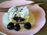 Easy, Delectable Coffee Cake with Sour Cherries, Topped with Chocolate Cookie Streusel