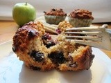 Low fat blueberry, apple and oat muffins