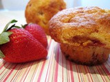Low fat strawberry lemon cornmeal muffins
