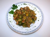 Brussels sprouts smoked pork stew with yellow boletus