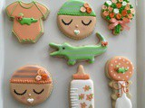 Peach and Green Baby Shower Cookies