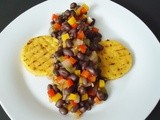 Spicy, Savory Black Beans Over Grilled Polenta