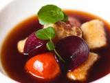 Gnocchi With Mushroom Consommé, Beetroot & Roast Tomatoes