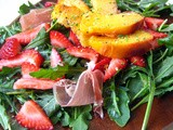 Baby Arugula Salad with Grilled Peaches and Strawberries