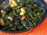Braised Broccoli and Kale with Smoked Bacon