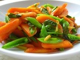 Carrots and Snap Peas with Ginger and Fried Basil